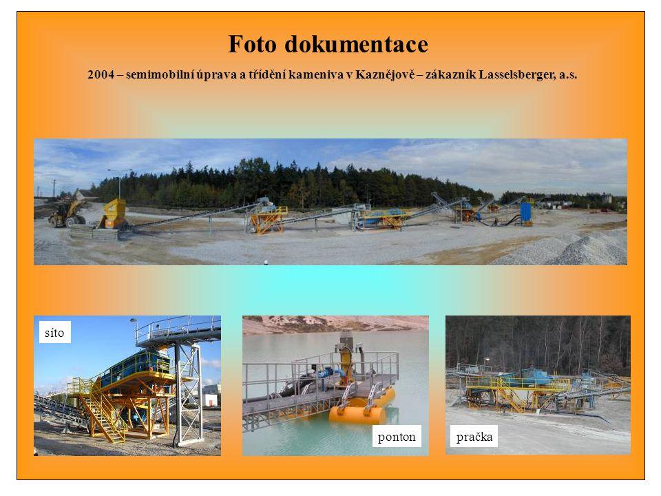 Foto dokumentace 2004 – semimobilní úprava a třídění kameniva v Kaznějově – zákazník Lasselsberger, a.s. síto pračkaponton