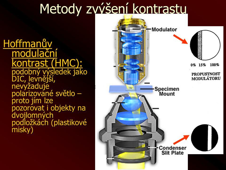 Metody zvýšení kontrastu Hoffmanův modulační kontrast (HMC): podobný výsledek jako DIC, levnější, nevyžaduje polarizované světlo – proto jím lze pozor
