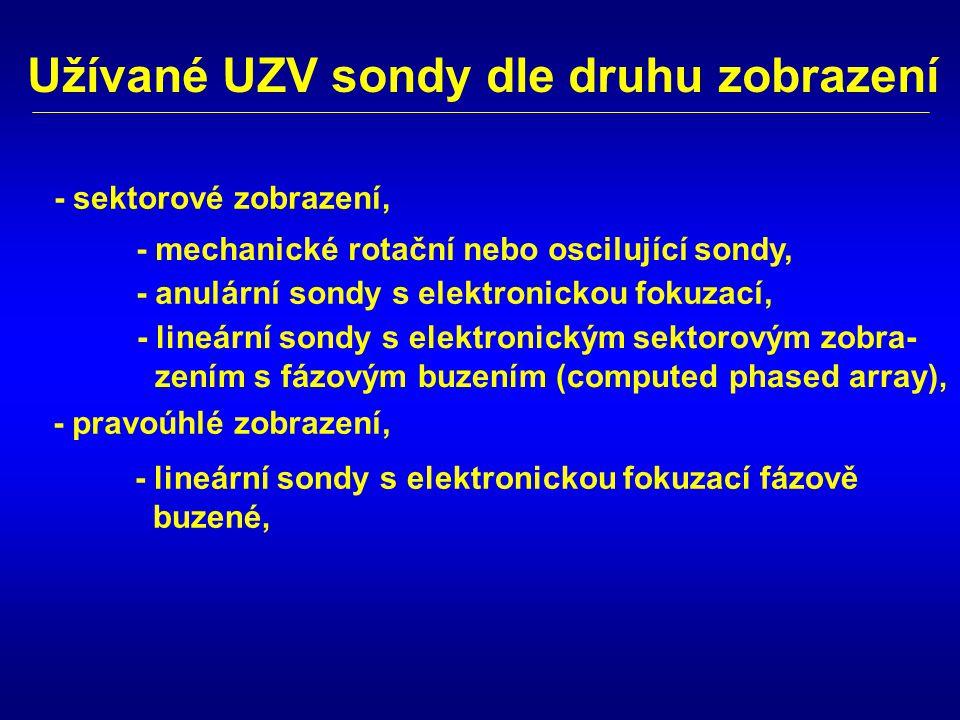 Užívané UZV sondy dle druhu zobrazení - mechanické rotační nebo oscilující sondy, - anulární sondy s elektronickou fokuzací, - lineární sondy s elektr