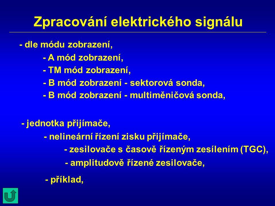 Zpracování elektrického signálu - A mód zobrazení, - TM mód zobrazení, - B mód zobrazení - sektorová sonda, - amplitudově řízené zesilovače, - dle mód