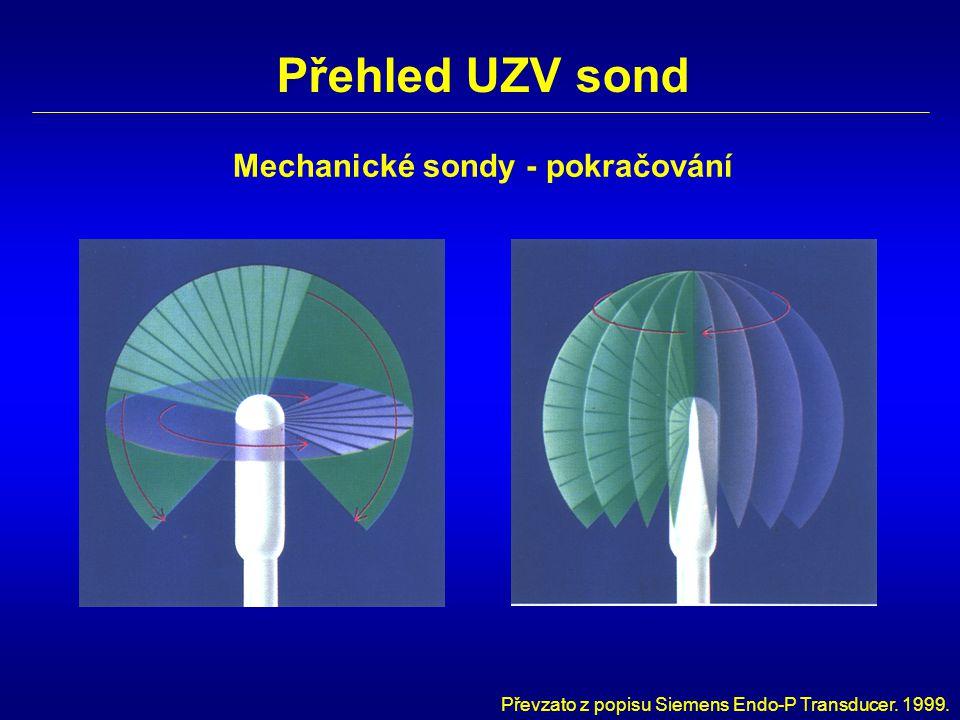 Přehled UZV sond Mechanické sondy - pokračování Převzato z popisu Siemens Endo-P Transducer. 1999.