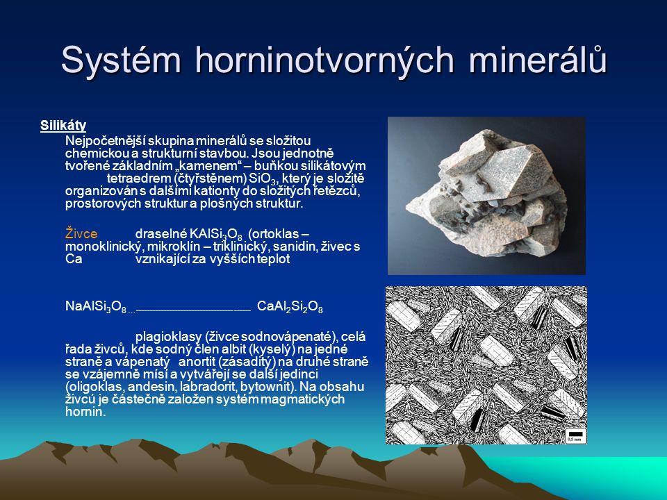 Systém horninotvorných minerálů živce barva: bílé, našedlé, narůžovělé až masově červené barva vrypu: bílá průhlednost, průsvitnost:výjimečně průsvitný, vzácně i průhledný vzhled: nekovový lesk: dokonalý štěpnost: dokonalá tvrdost: 6.5 tvar:tabulky, lišty, destičky horninové prostředí: všechny horniny jiné vlastnosti: ovlivňuje štěpnost hornin Velmi podobné, makroskopicky nerozlišitelné jsou zástupci živců – foidy ( setkáme se s horninou, která má u názvu přívlastek nefelinický fonolit – je to vulkanit fonolit – znělec s nefelínem.