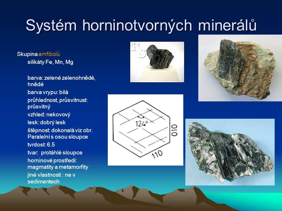 Systém horninotvorných minerálů Skupina pyroxenů silikáty Fe, Mg, Mn barva: temnější než amfiboly, hnědé, hnědočerné, temně zelené barva vrypu: bělavá průhlednost, průsvitnust: neprůsvitná vzhled: nekovový lesk: dokonalý štěpnost: dokonalá tvrdost:6.5 tvar: zavalité, kratší sloupce horninové prostředí: magmatity, etamorfity, ne sedimenty jiné vlastnosti: málo odolný Fe