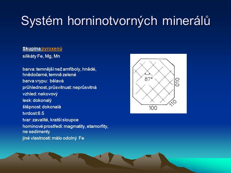 Systém horninotvorných minerálů Skupina olivínu Je to řada silikátů Fe a Mg (forsterit a fayalit), které se mísí a FeMg silikát je minerál olivín barva: trávově zelená, zelenožlutá až hnědavá barva vrypu: bílá průhlednost, průsvitnost: průsvitný vzhled: nekovový lesk: mastný skelný - vysoký štěpnost: nedokonalá tvrdost: 6.5 tvar: špačkovité tvary horninové prostředí: bazické magmatity jiné vlastnosti: při metamorfoze procesem serpentinizace vzniká vláknitý minerál chrysotil - azbest (nebo šupinkovitý serpertin)