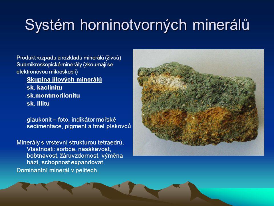 Systém horninotvorných minerálů Produkt rozpadu a rozkladu minerálů (živců) Submikroskopické minerály (zkoumají se elektronovou mikroskopií) Skupina j