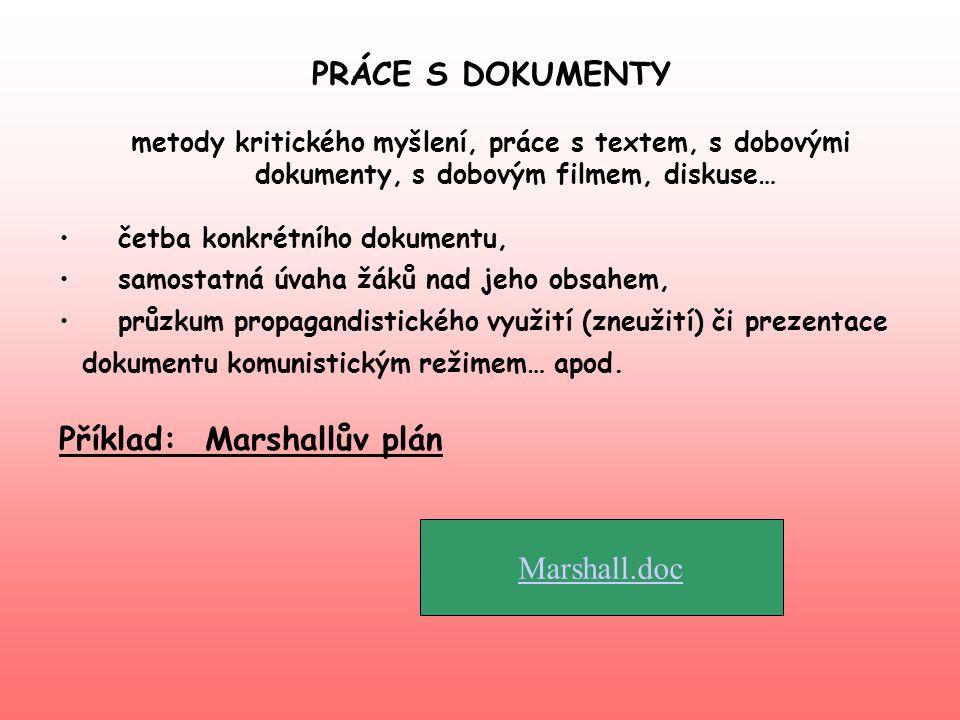 PRÁCE S DOKUMENTY metody kritického myšlení, práce s textem, s dobovými dokumenty, s dobovým filmem, diskuse… • četba konkrétního dokumentu, • samosta