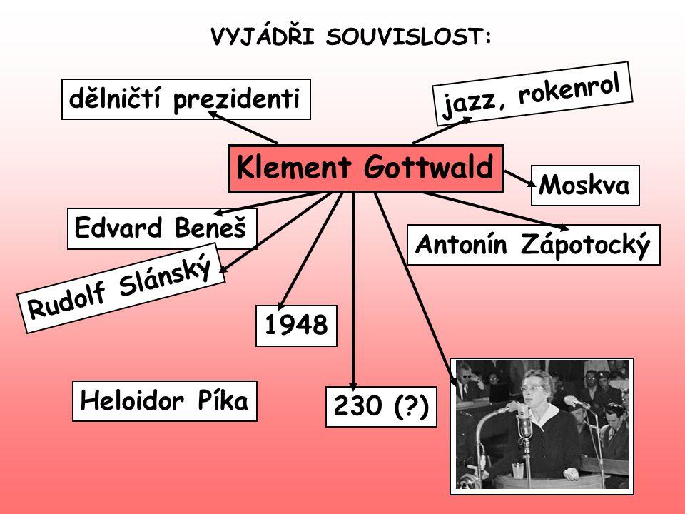 VYJÁDŘI SOUVISLOST: Klement Gottwald Edvard Beneš 230 (?) Rudolf Slánský Antonín Zápotocký Moskva 1948 Heloidor Píka dělničtí prezidenti jazz, rokenro