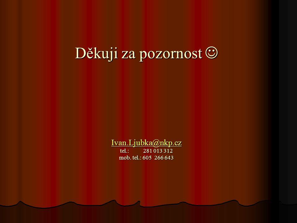 Děkuji za pozornost  Ivan.Ljubka@nkp.cz tel.: 281 013 312 mob. tel.: 605 266 643 Ivan.Ljubka@nkp.cz
