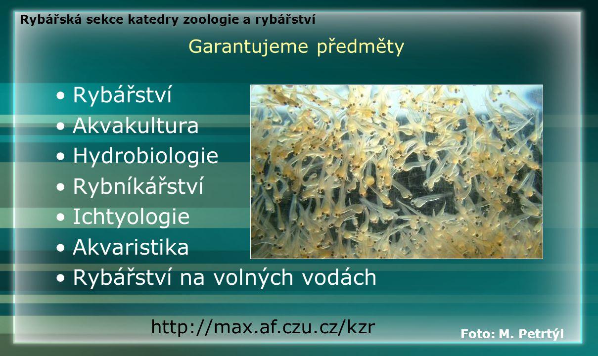 Garantujeme předměty •Rybářství •Akvakultura •Hydrobiologie •Rybníkářství •Ichtyologie •Akvaristika •Rybářství na volných vodách http://max.af.czu.cz/