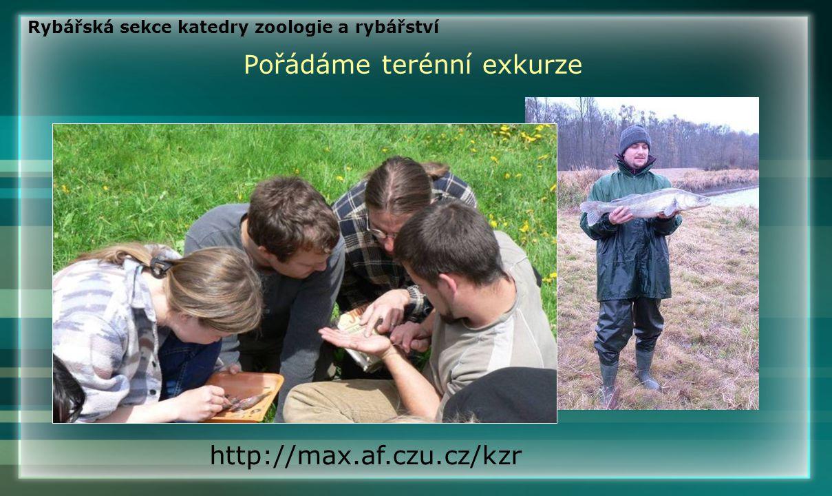Pořádáme terénní exkurze http://max.af.czu.cz/kzr Rybářská sekce katedry zoologie a rybářství