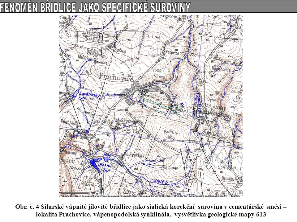 Obr. č. 4 Silurské vápnité jílovité břidlice jako sialická korekční surovina v cementářské směsi – lokalita Prachovice, vápenopodolská synklinála, vys