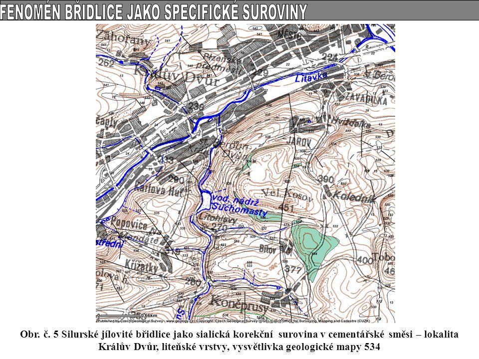 Obr. č. 5 Silurské jílovité břidlice jako sialická korekční surovina v cementářské směsi – lokalita Králův Dvůr, liteňské vrstvy, vysvětlivka geologic