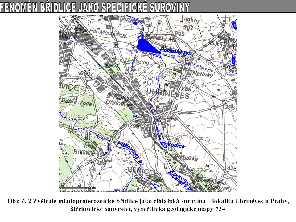 Obr. č. 2 Zvětralé mladoproterozoické břidlice jako cihlářská surovina – lokalita Uhříněves u Prahy, štěchovické souvrství, vysvětlivka geologické map