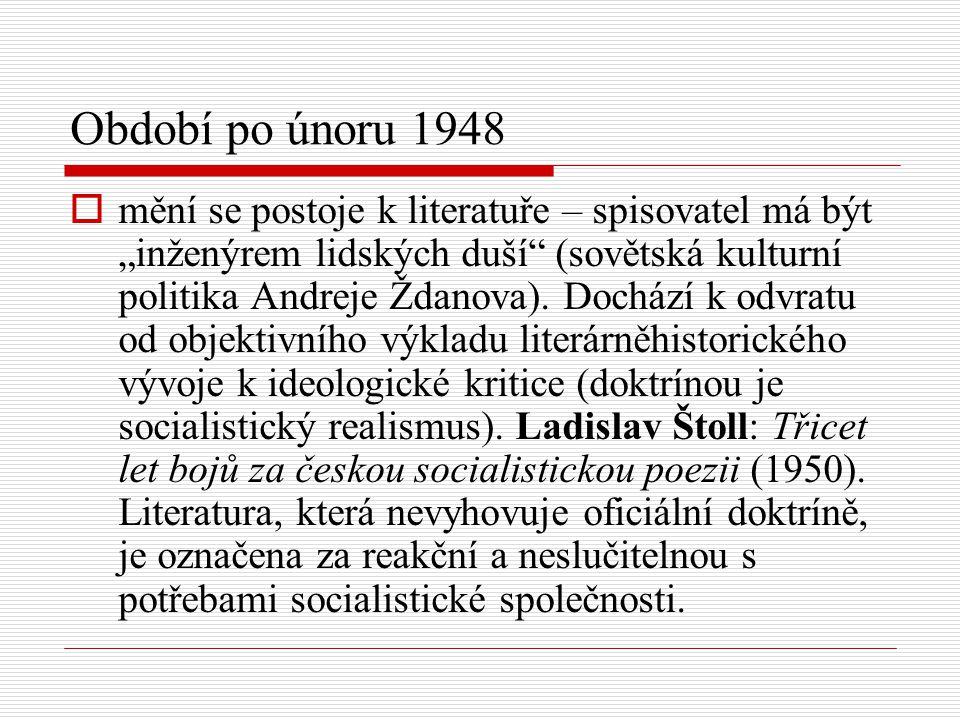 """Období po únoru 1948  mění se postoje k literatuře – spisovatel má být """"inženýrem lidských duší"""" (sovětská kulturní politika Andreje Ždanova). Docház"""