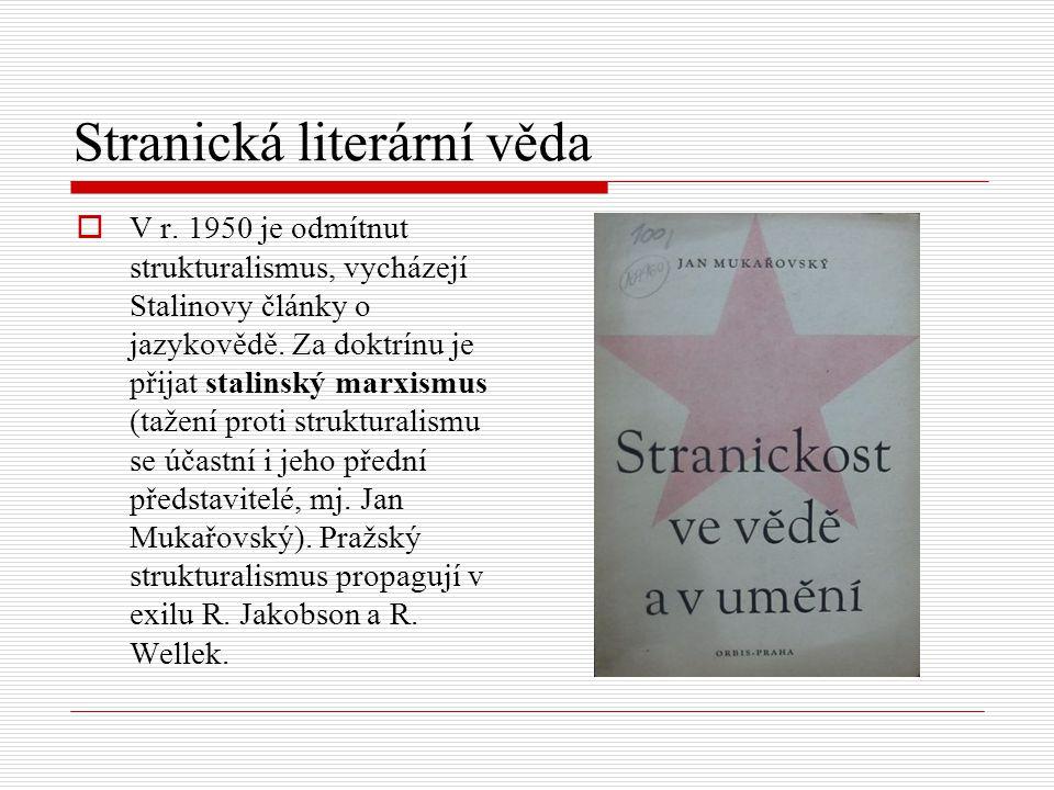 Stranická literární věda  V r. 1950 je odmítnut strukturalismus, vycházejí Stalinovy články o jazykovědě. Za doktrínu je přijat stalinský marxismus (