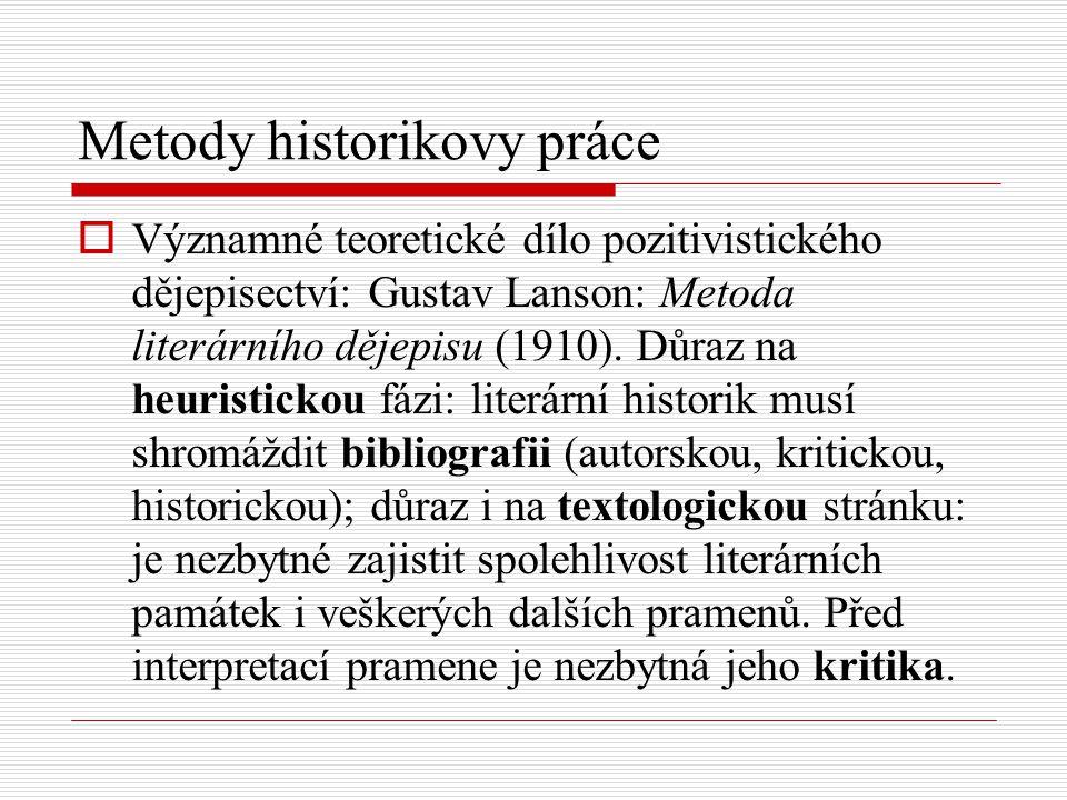 Metody historikovy práce  Významné teoretické dílo pozitivistického dějepisectví: Gustav Lanson: Metoda literárního dějepisu (1910). Důraz na heurist