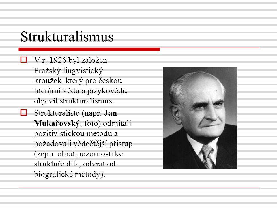Strukturalismus  V r. 1926 byl založen Pražský lingvistický kroužek, který pro českou literární vědu a jazykovědu objevil strukturalismus.  Struktur