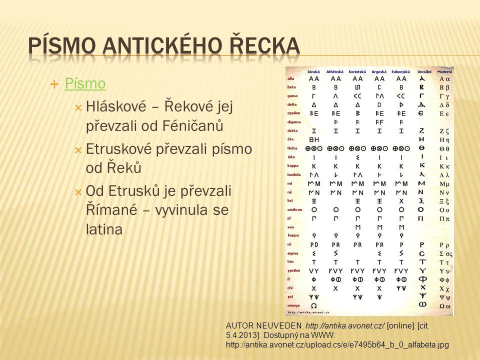  Písmo  Hláskové – Řekové jej převzali od Féničanů  Etruskové převzali písmo od Řeků  Od Etrusků je převzali Římané – vyvinula se latina AUTOR NEU