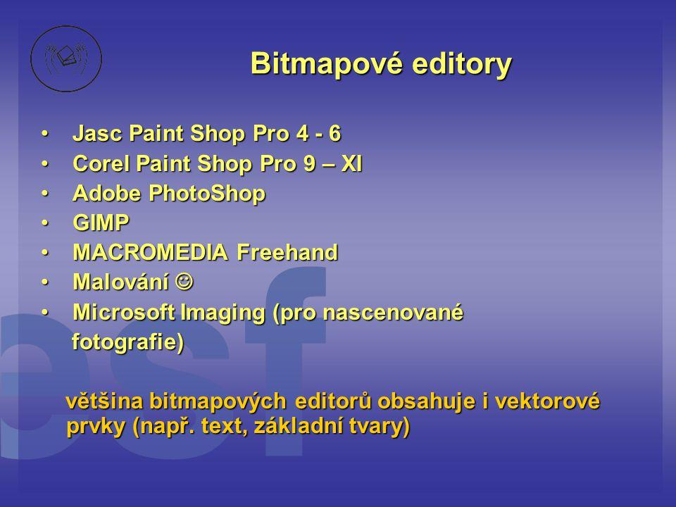 Bitmapové editory • Jasc Paint Shop Pro 4 - 6 • Corel Paint Shop Pro 9 – XI • Adobe PhotoShop • GIMP • MACROMEDIA Freehand • Malování  • Microsoft Im