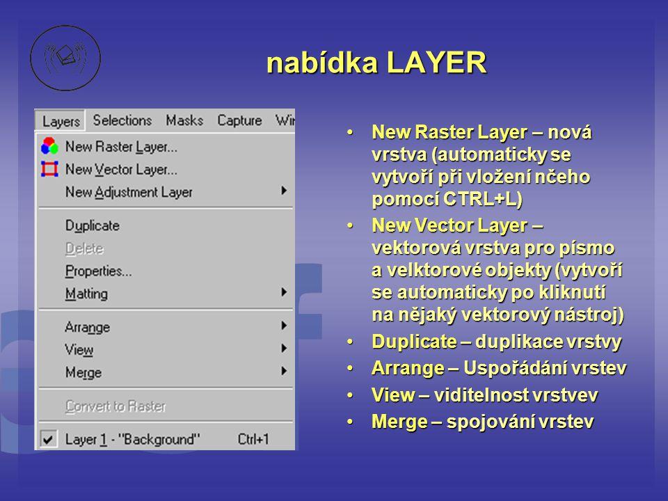 nabídka LAYER •New Raster Layer – nová vrstva (automaticky se vytvoří při vložení nčeho pomocí CTRL+L) •New Vector Layer – vektorová vrstva pro písmo