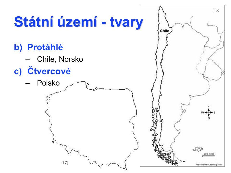 Státní území - tvary b)Protáhlé –Chile, Norsko c)Čtvercové –Polsko (16) (17)