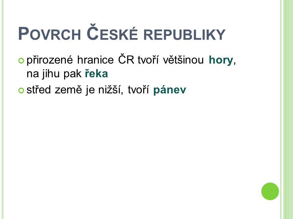 P OVRCH Č ESKÉ REPUBLIKY přirozené hranice ČR tvoří většinou hory, na jihu pak řeka střed země je nižší, tvoří pánev