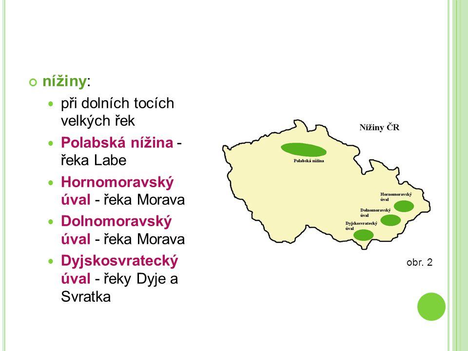 nížiny:  při dolních tocích velkých řek  Polabská nížina - řeka Labe  Hornomoravský úval - řeka Morava  Dolnomoravský úval - řeka Morava  Dyjskos