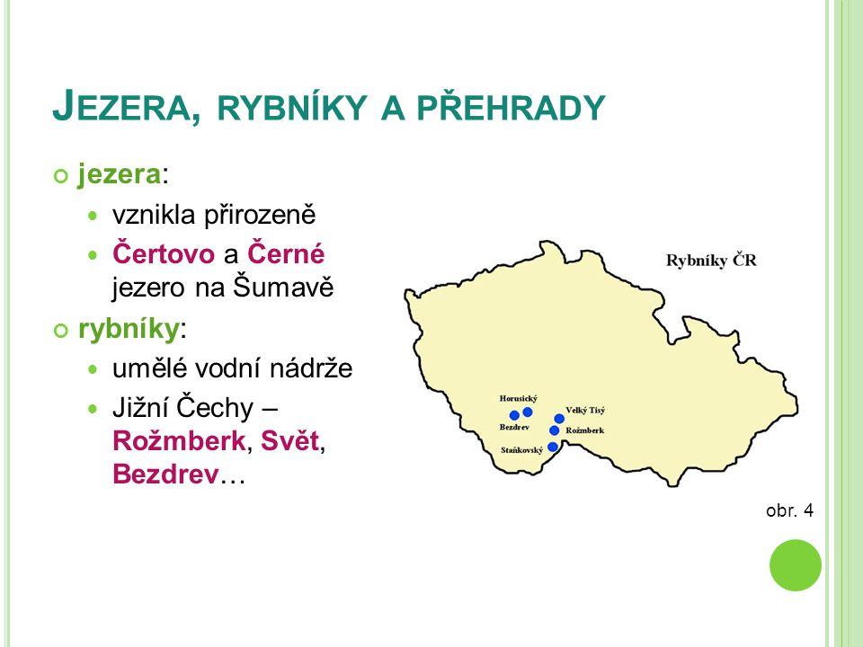 J EZERA, RYBNÍKY A PŘEHRADY jezera:  vznikla přirozeně  Čertovo a Černé jezero na Šumavě rybníky:  umělé vodní nádrže  Jižní Čechy – Rožmberk, Svě