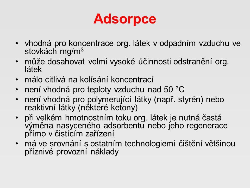 Adsorpce •vhodná pro koncentrace org.