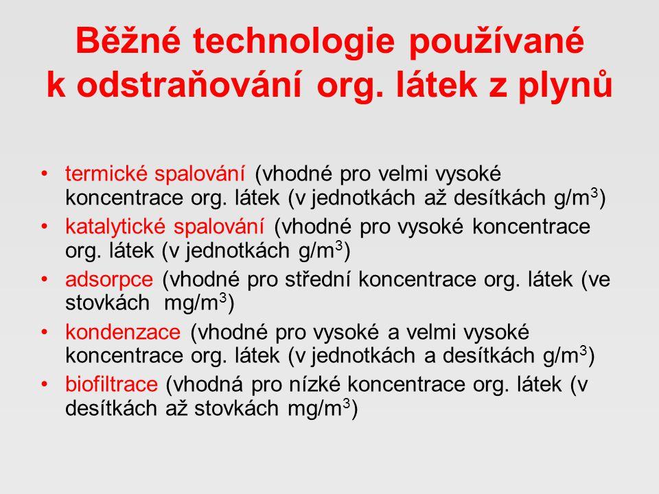 Činnost Ústav plynárenství, koksochemie a ochrany ovzduší VŠCHT Praha v oblasti odstraňování org.