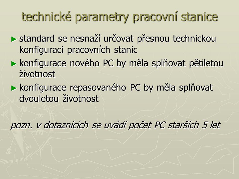 technické parametry pracovní stanice ► standard se nesnaží určovat přesnou technickou konfiguraci pracovních stanic ► konfigurace nového PC by měla splňovat pětiletou životnost ► konfigurace repasovaného PC by měla splňovat dvouletou životnost pozn.