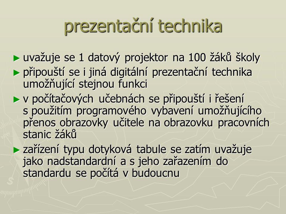 prezentační technika ► uvažuje se 1 datový projektor na 100 žáků školy ► připouští se i jiná digitální prezentační technika umožňující stejnou funkci ► v počítačových učebnách se připouští i řešení s použitím programového vybavení umožňujícího přenos obrazovky učitele na obrazovku pracovních stanic žáků ► zařízení typu dotyková tabule se zatím uvažuje jako nadstandardní a s jeho zařazením do standardu se počítá v budoucnu