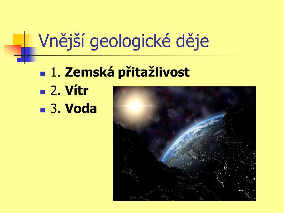 Vnější geologické děje  1. Zemská přitažlivost  2. Vítr  3. Voda