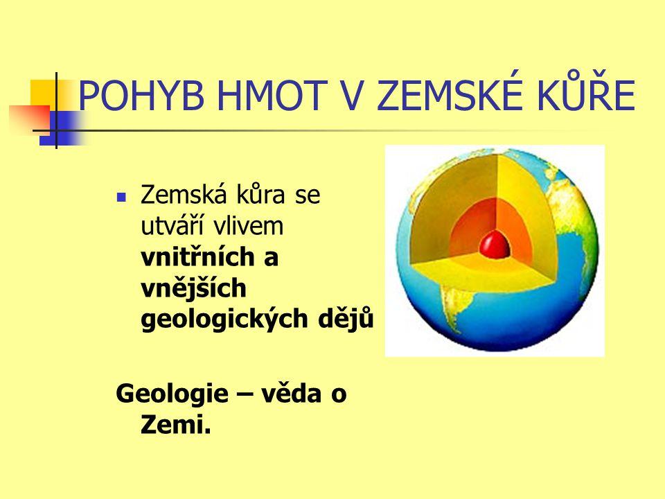 POHYB HMOT V ZEMSKÉ KŮŘE  Zemská kůra se utváří vlivem vnitřních a vnějších geologických dějů Geologie – věda o Zemi.