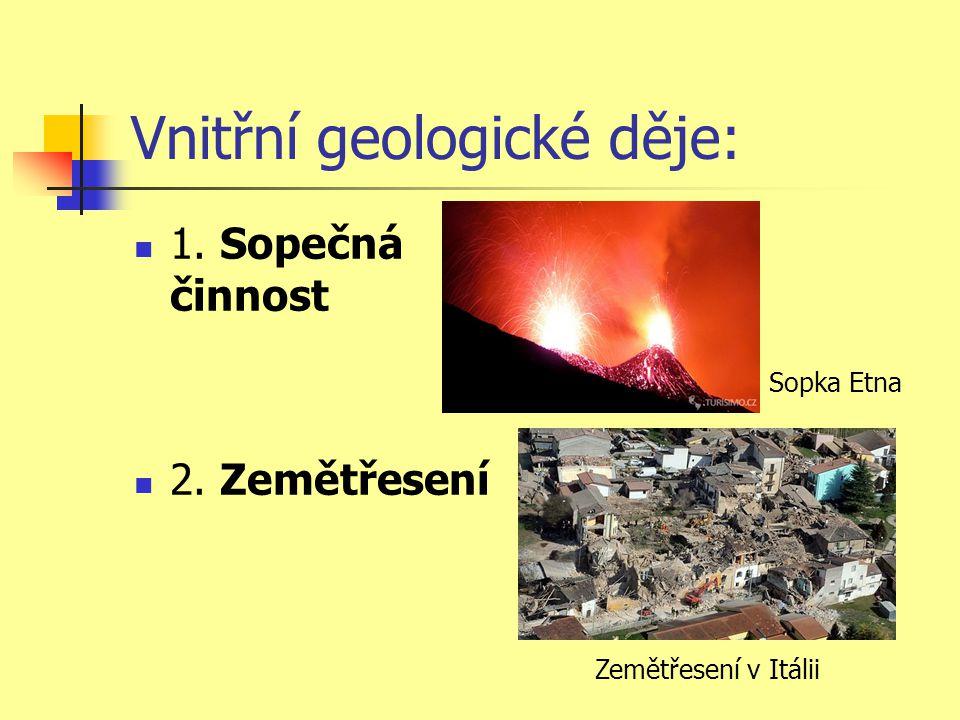 Vnitřní geologické děje:  1. Sopečná činnost  2. Zemětřesení Sopka Etna Zemětřesení v Itálii