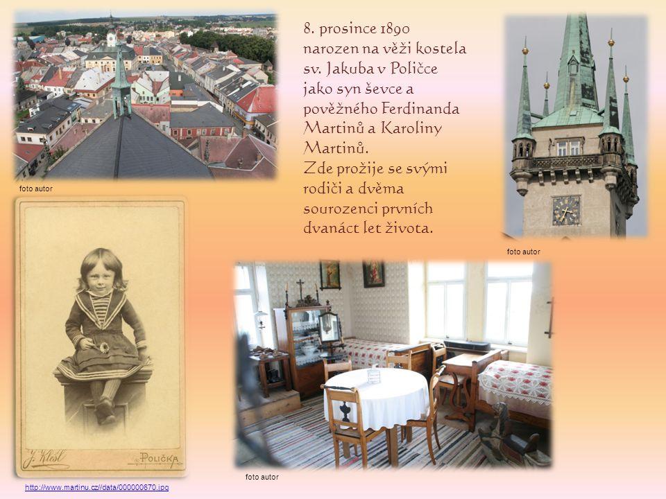 1897 - Začátek docházky na Měšťanskou školu v Poličce, jedinou, kterou Martinů dokončil.
