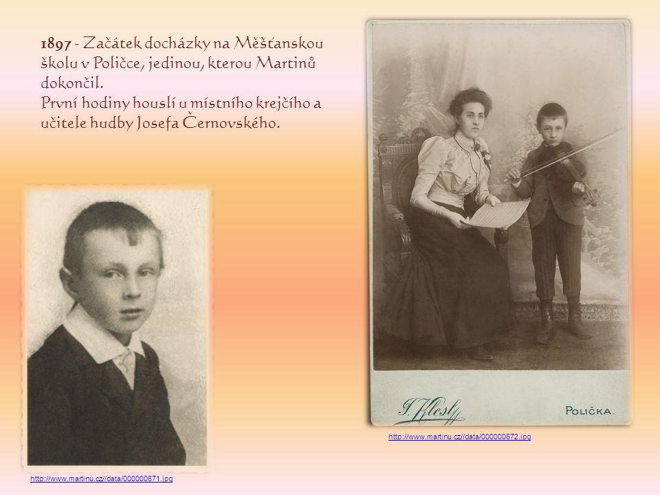 1906 - Veřejné vystoupení v Poličce, na jeho základě získává stipendium městské rady v Poličce a po úspěšně složené přijímací zkoušce začíná studovat hru na housle na Konzervatoři v Praze.