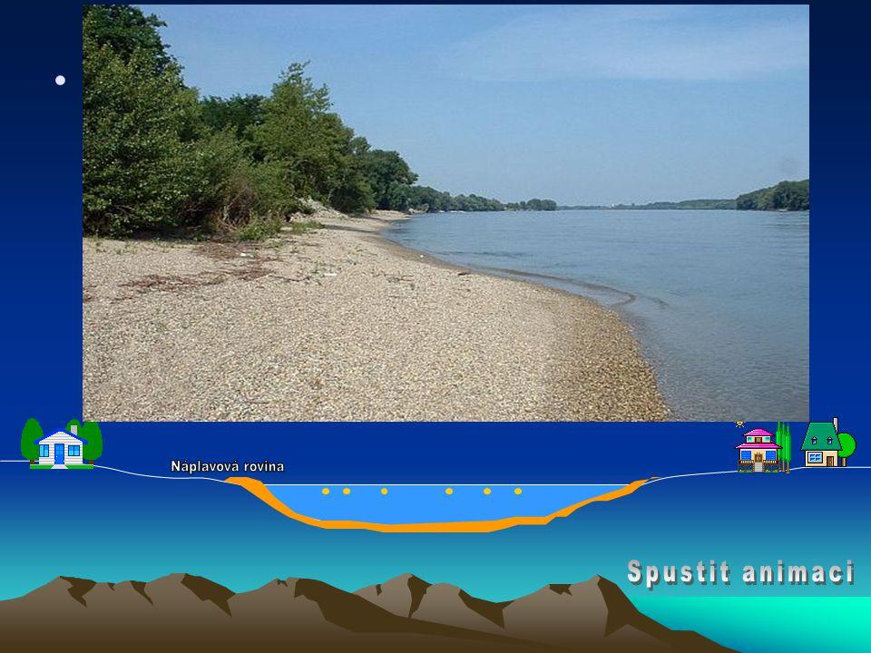 •B) pomalý vodní tok –sílá proudu slábne, proto se unášený materiál usazuje na dno - vznikají říční usazeniny (štěrk, písek, bahno) –tyto usazeniny vy