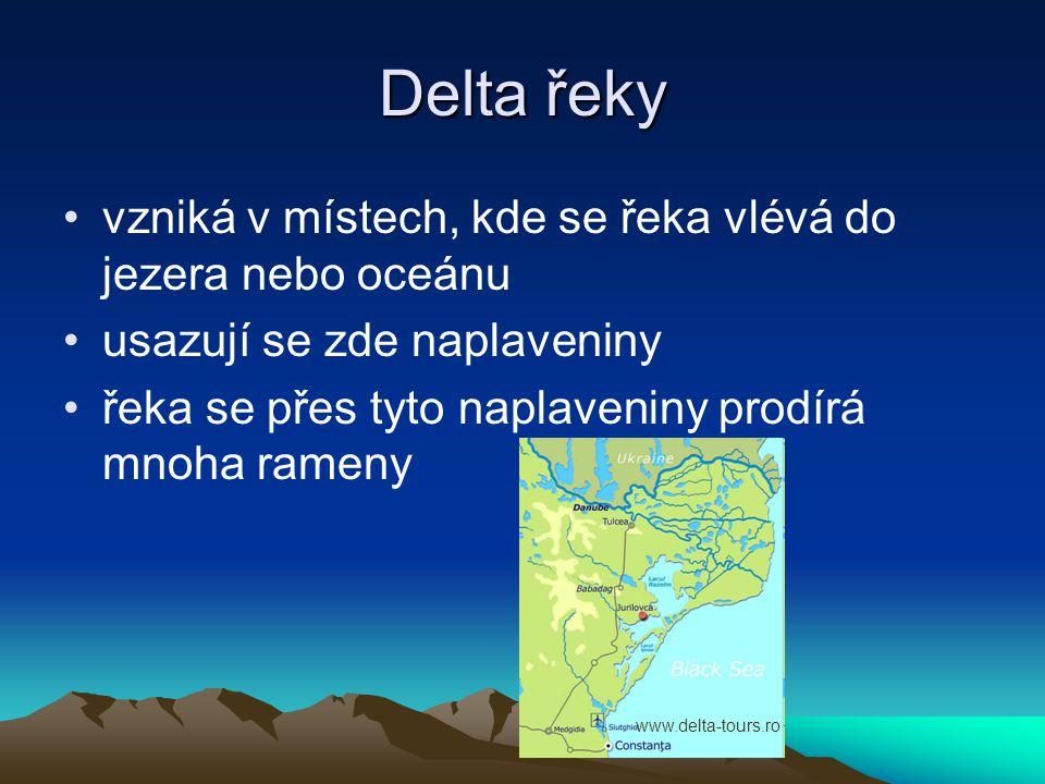 Delta řeky •vzniká v místech, kde se řeka vlévá do jezera nebo oceánu •usazují se zde naplaveniny •řeka se přes tyto naplaveniny prodírá mnoha rameny