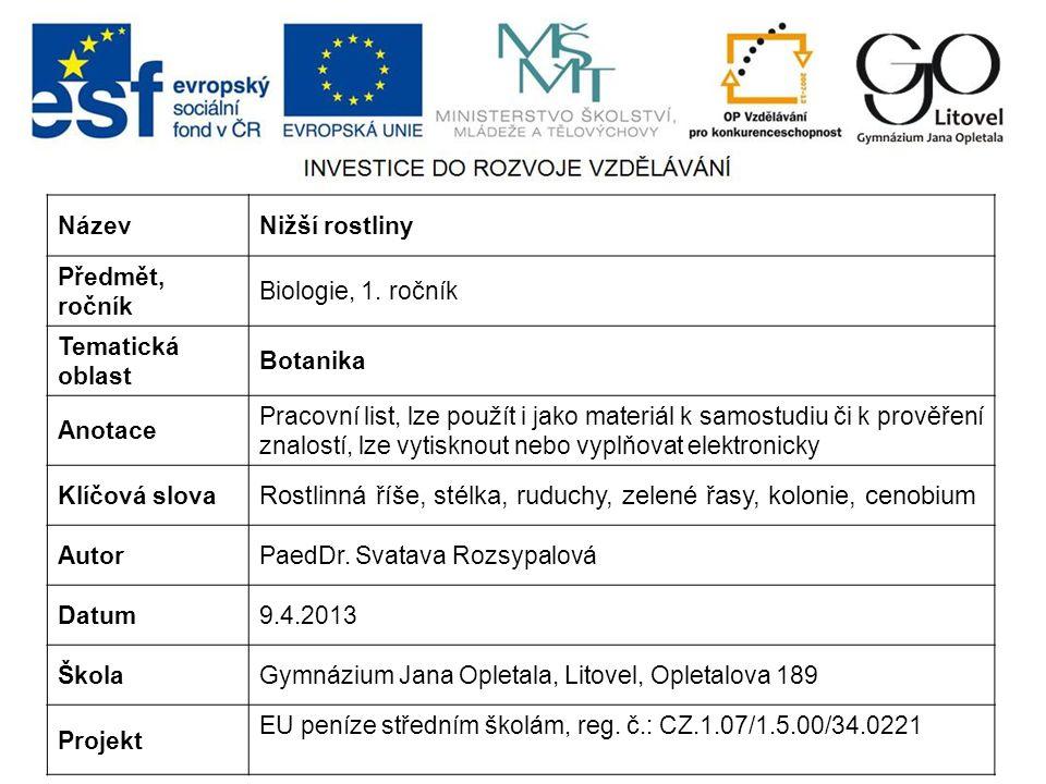 NázevNižší rostliny Předmět, ročník Biologie, 1.