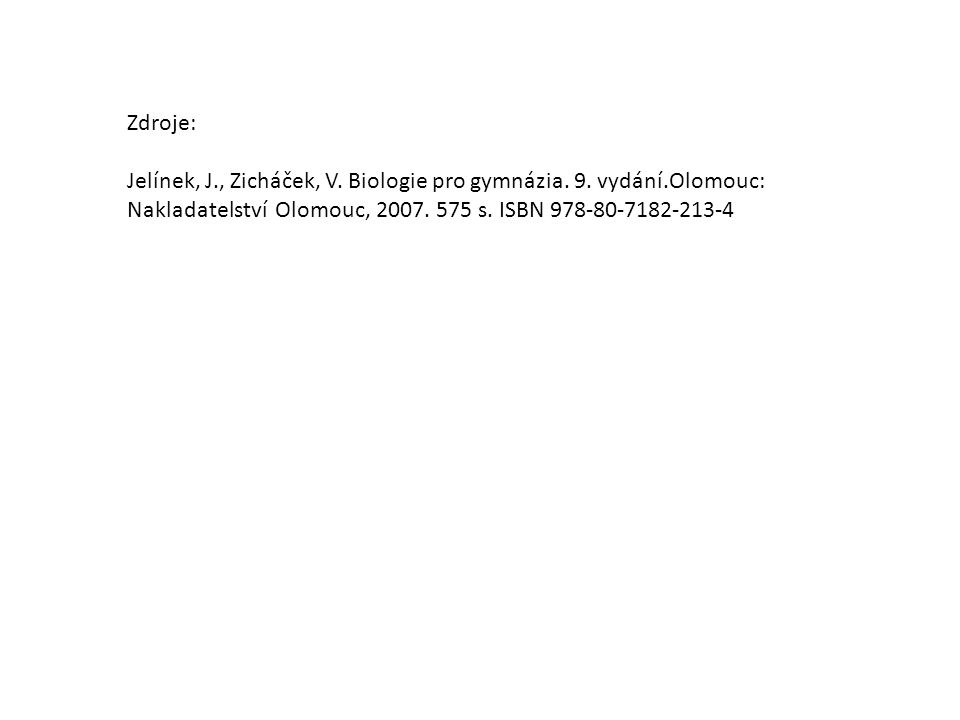 Zdroje: Jelínek, J., Zicháček, V.Biologie pro gymnázia.