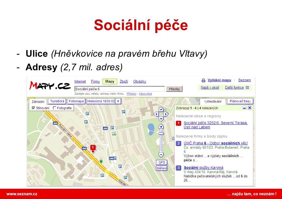 www.seznam.cz … najdu tam, co neznám ! Sociální péče -Ulice (Hněvkovice na pravém břehu Vltavy) -Adresy (2,7 mil. adres)