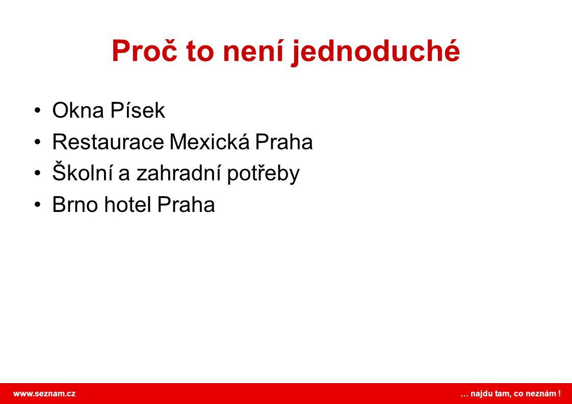 www.seznam.cz … najdu tam, co neznám ! Proč to není jednoduché •Okna Písek •Restaurace Mexická Praha •Školní a zahradní potřeby •Brno hotel Praha