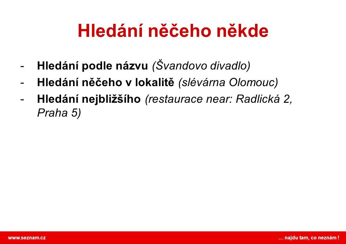 www.seznam.cz … najdu tam, co neznám ! Hledání něčeho někde -Hledání podle názvu (Švandovo divadlo) -Hledání něčeho v lokalitě (slévárna Olomouc) -Hle