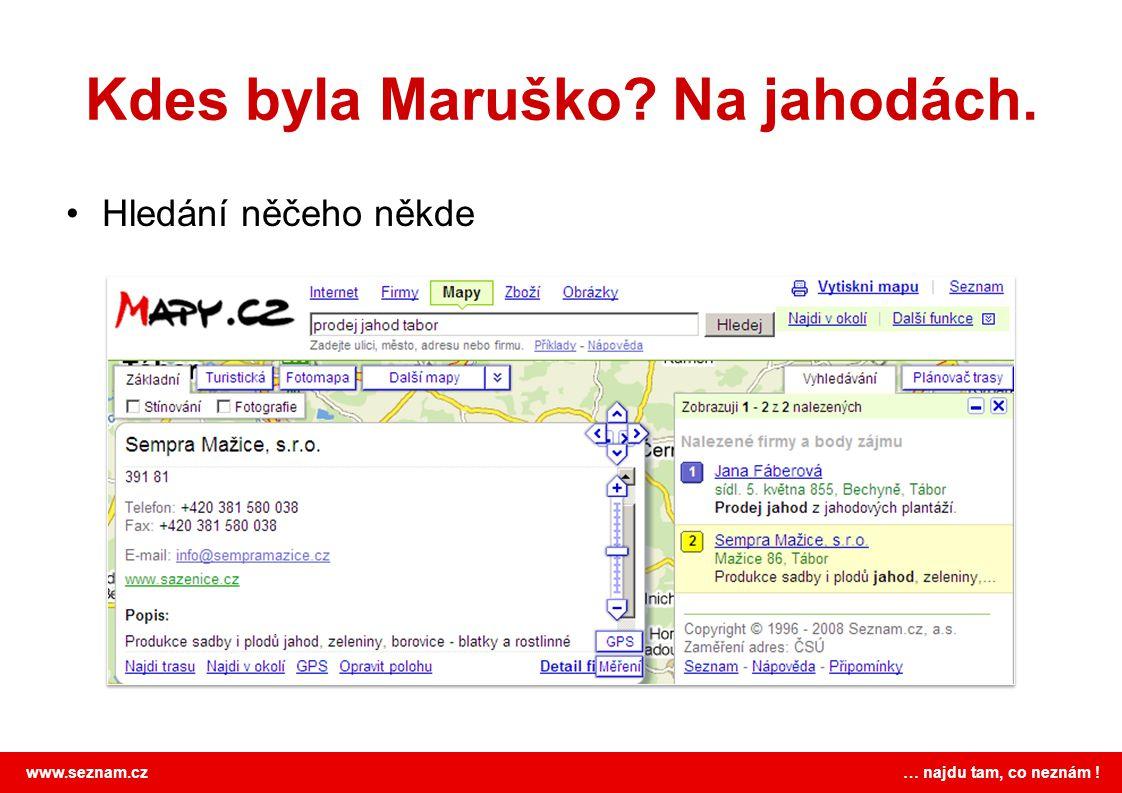 www.seznam.cz … najdu tam, co neznám ! Kdes byla Maruško? Na jahodách. •Hledání něčeho někde