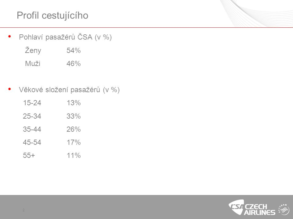 2 Profil cestujícího • Pohlaví pasažérů ČSA (v %) Ženy54% Muži46% • Věkové složení pasažérů (v %) 15-2413% 25-3433% 35-4426% 45-5417% 55+11%