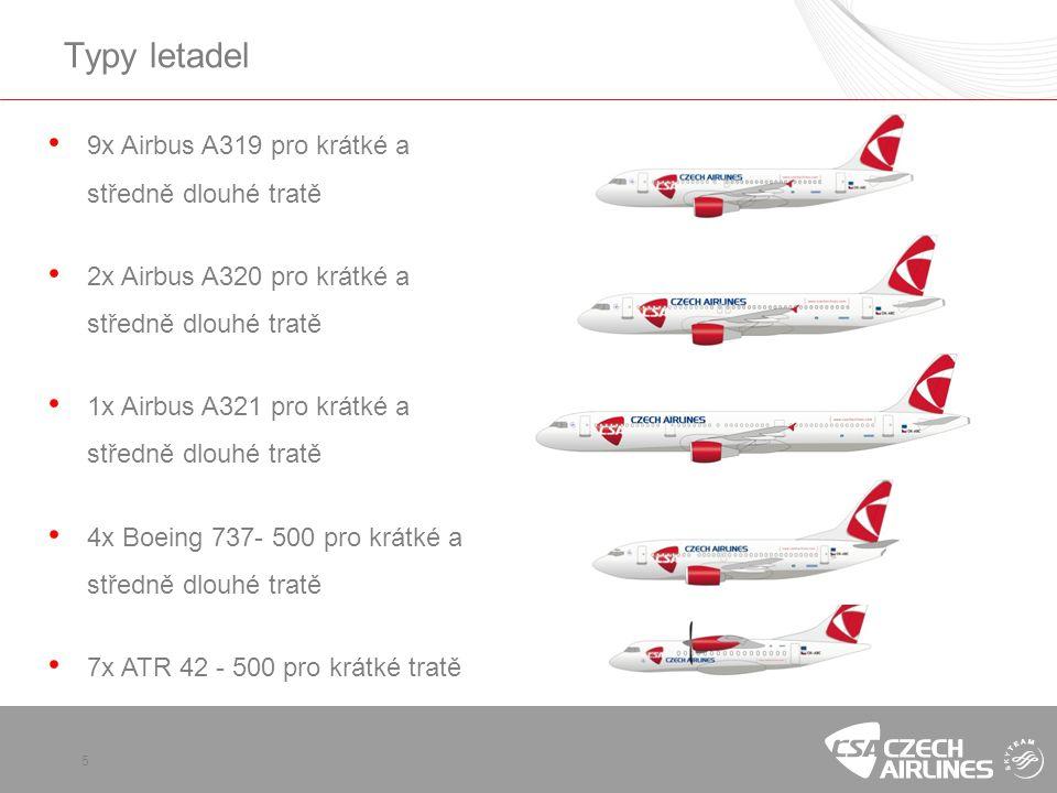 5 Typy letadel • 9x Airbus A319 pro krátké a středně dlouhé tratě • 2x Airbus A320 pro krátké a středně dlouhé tratě • 1x Airbus A321 pro krátké a středně dlouhé tratě • 4x Boeing 737- 500 pro krátké a středně dlouhé tratě • 7x ATR 42 - 500 pro krátké tratě