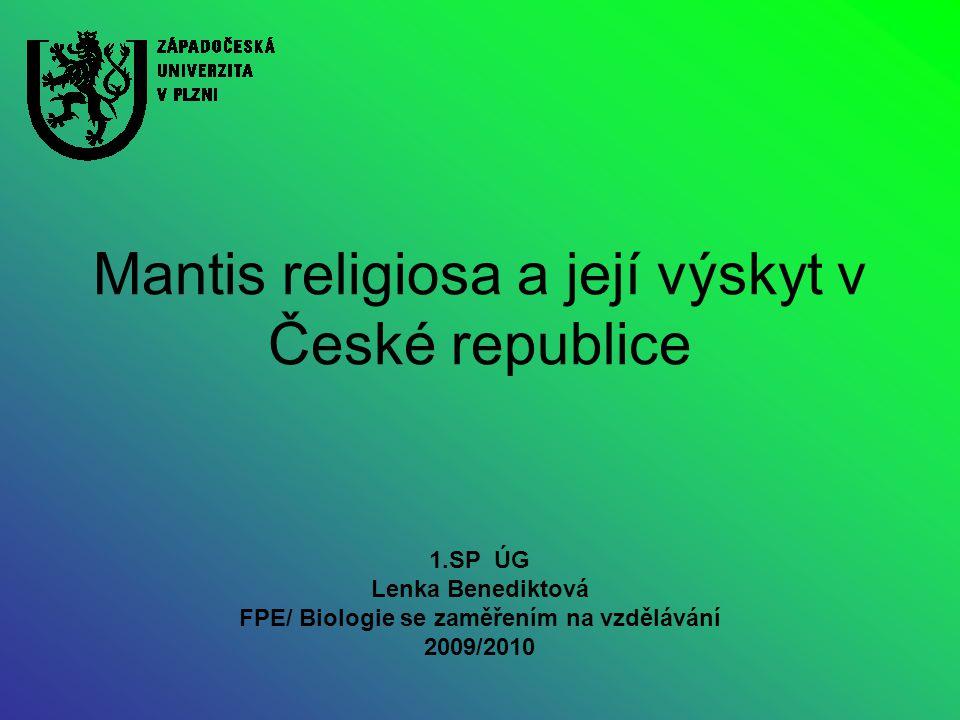 Mantis religiosa a její výskyt v České republice 1.SP ÚG Lenka Benediktová FPE/ Biologie se zaměřením na vzdělávání 2009/2010