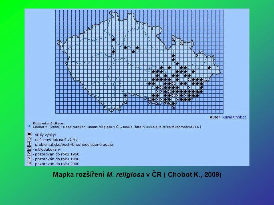 Mapka rozšíření M. religiosa v ČR ( Chobot K., 2009)