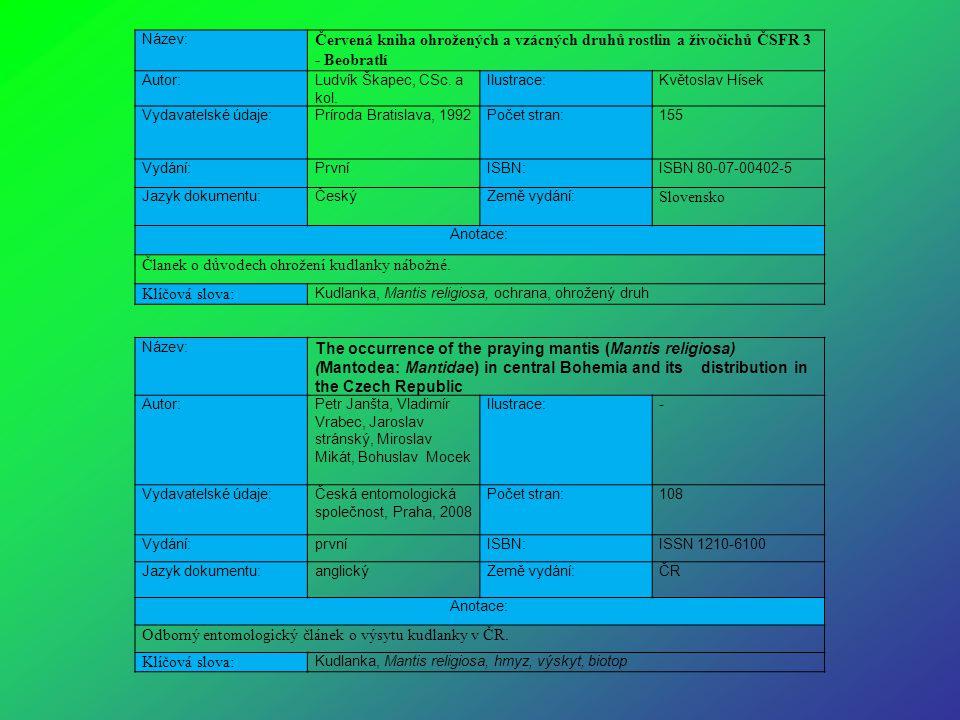 Název: Červená kniha ohrožených a vzácných druhů rostlin a živočichů ČSFR 3 - Beobratlí Autor:Ludvík Škapec, CSc. a kol. Ilustrace:Květoslav Hísek Vyd